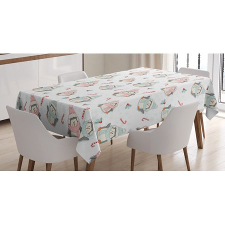 Candy Cane Tablecloth, Cute Christmas Boy and Girl Penguins with Scarf Hats Traditional Holly Berries, Rectangular Table Cover for Dining Room Kitchen, 60 X 84 Inches, Multicolor, by - Candy Cane Scarf