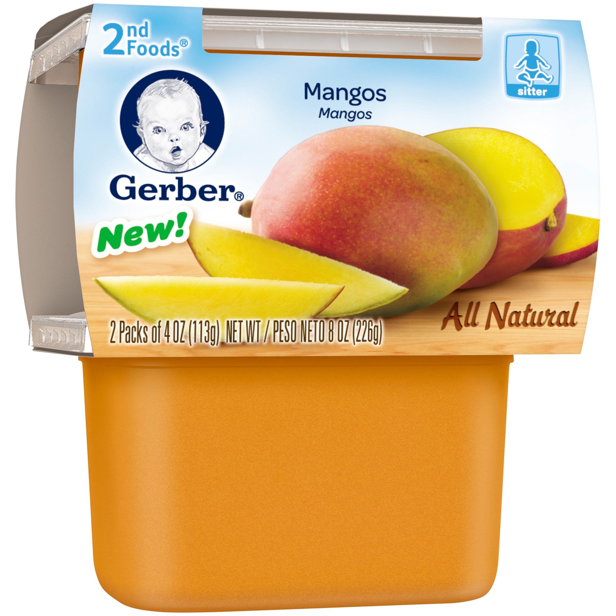 Gerber 2nd Foods Mangos Baby Food, 4 oz Tubs, 2 Count (Pack of 8)