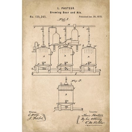 Brew Beer Art Print (Beer Brewing Patent Art Poster Print)