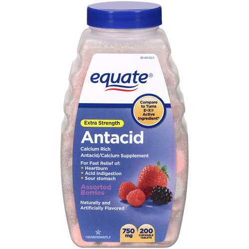 Equate Extra Strength Antacid/Calcium Supplement Chewable Tablets, 200ct