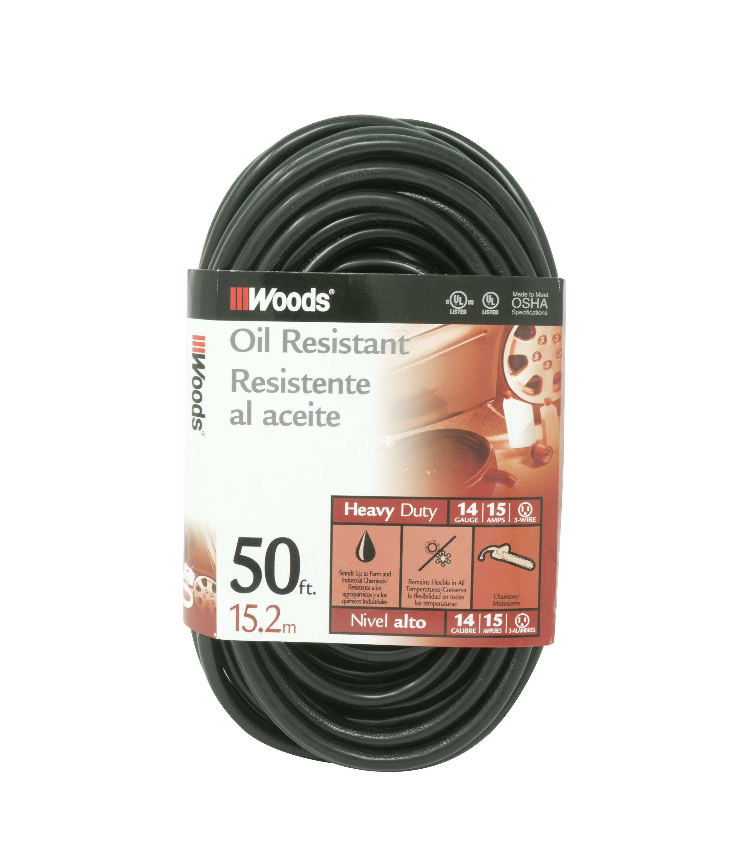 Woods 982452 14/3 SJTOW Agricultural Extension Cord, Black, 50-Feet
