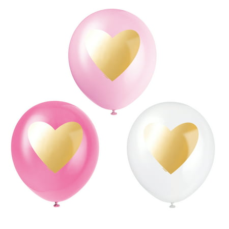 Latex Gold Heart Balloons, 12 in, Pink & White, 6ct