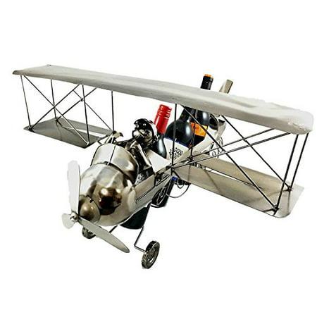 Large Vintage Aviator Pilot Airplane Hand Made Metal Three Slots Wine Bottle Holder Caddy