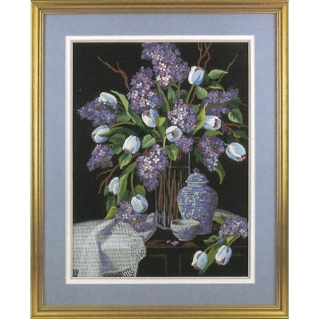 "Dimensions ""Lilacs And Lace"" Crewel Kit, 12"" x 16"", Stitched In Wool and Thread"