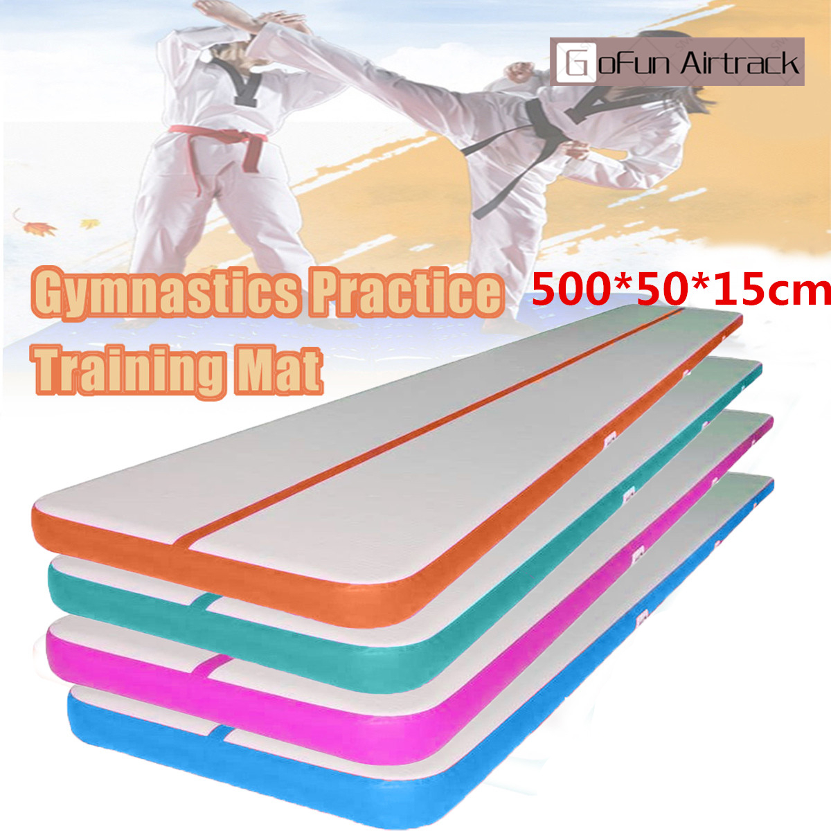 1Pcs 16.4ft x 1.3ft Inflatable Gymnastics Tumbling Mats Air Track Floor Airtrack Tumbling Yoga Mat Practice Training Pad For Home Use, Gymnastics Training, Beach