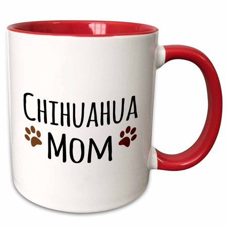 Have Paws Mugs - 3dRose Chihuahua Dog Mom - Doggie by breed - brown muddy paw prints love - doggy lover - proud pet owner - Two Tone Red Mug, 11-ounce