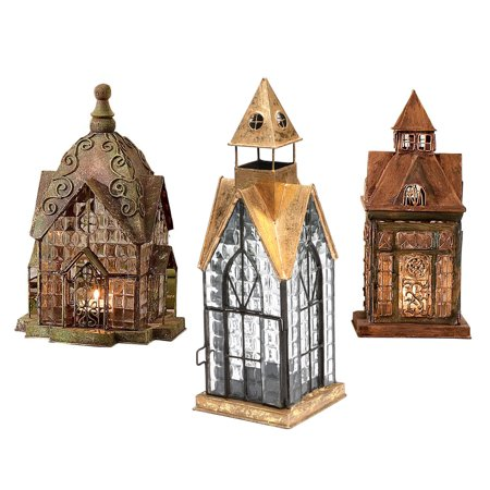 Set of 3 Glass and Metal Candle Lanterns -  Classic European Architectural (Classic 21 Metal)