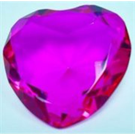 Glass Diamond Heart Jewel Paperweight- Hot Pink (80mm)