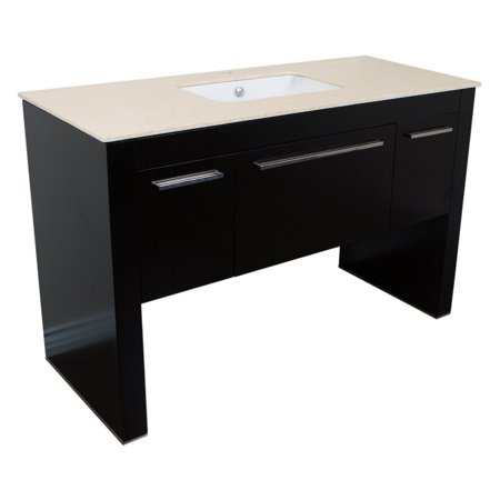 Bellaterra Home 55.3 in Single sink vanity-Black - White Marble