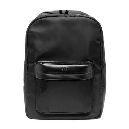 Prospect Park Men's Backpack Black Bag Nylon Genuine Leather Trim Travel Casual