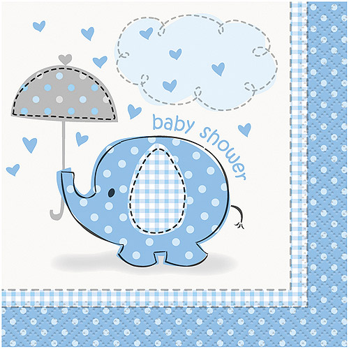 Blue Elephant Baby Shower Paper Cocktail Napkins, 5in, 16ct