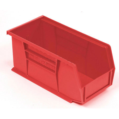 """Plastic Stacking BiN, 5-1/2""""W x 10-7/8""""D x 5""""H, Red, Lot of 12"""