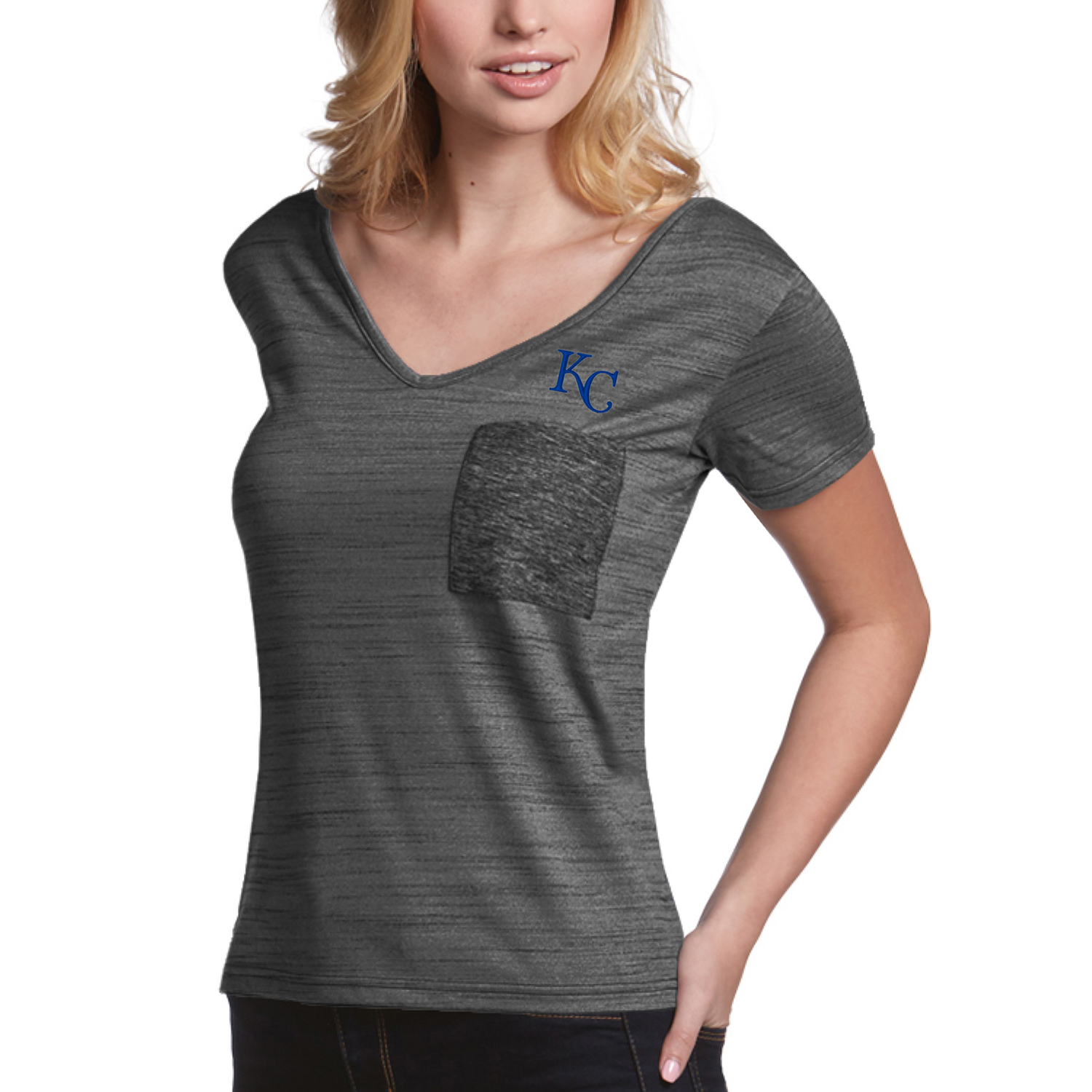 Kansas City Royals Antigua Women's Form Pocket T-Shirt - Gray