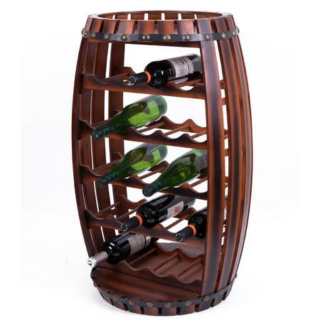 Large Wooden Barrel Shaped 23 Bottle Wine Rack (Wooden Barrel Wine Rack)