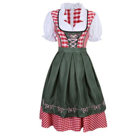 Ladies Oktoberfest German Bavarian Dirndl Dress Cosplay Fancy Costume - Ocktoberfest Costumes