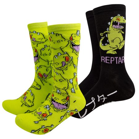 Rugrats Reptar 2-Pack Black And Green Crew Socks - Rugrats Decorations