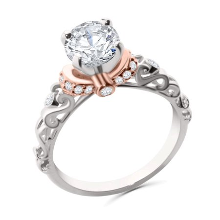 14K White Gold and Rose Gold Tone Engagement Ring Semi Mount Setting Fits Upto 1ct Solitaire 0.18ctw Size 9