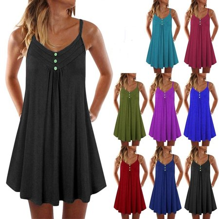 Tea Girl Dresses (Women's Plus Size Knee-length Sling Sleeveless Casual Long)