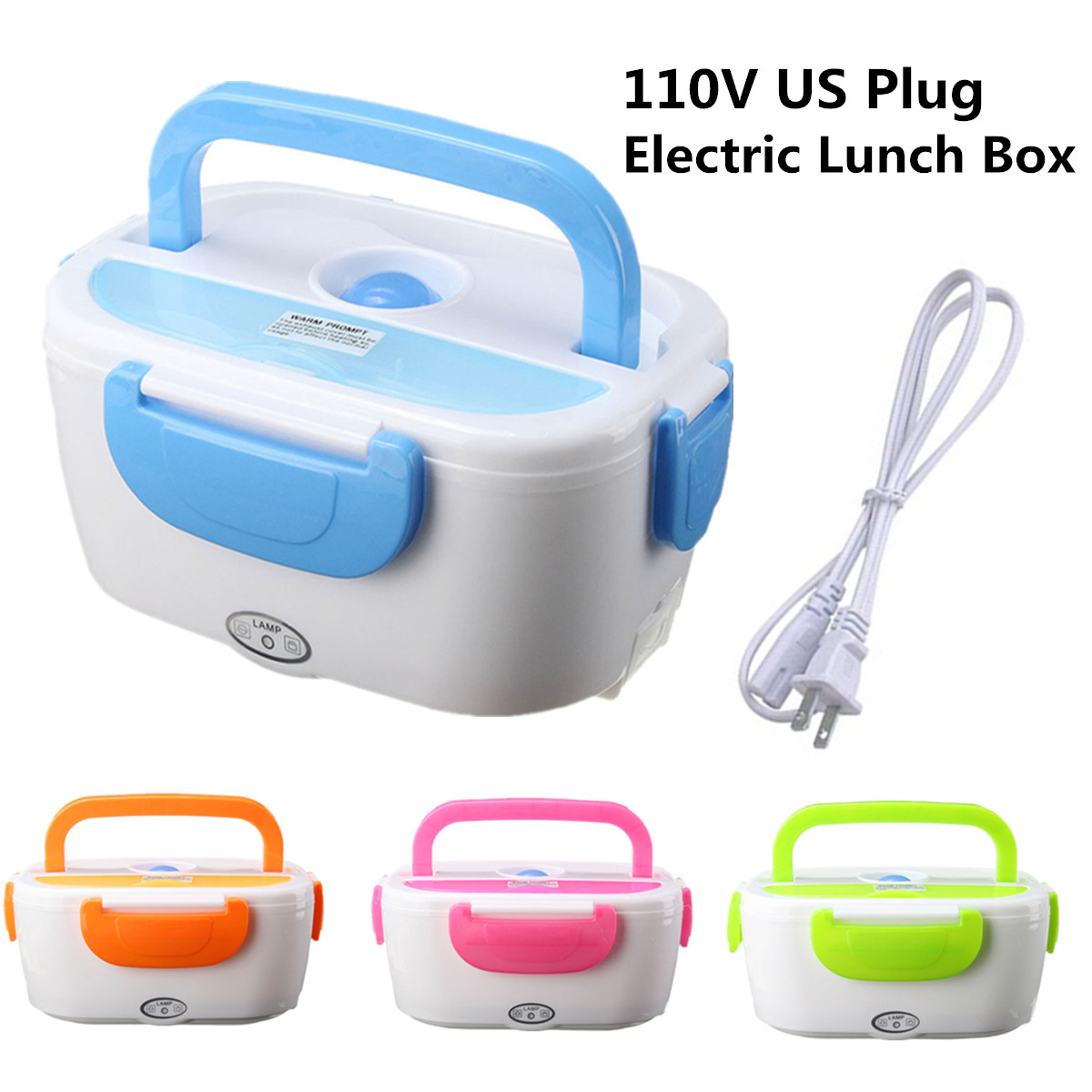 Portable Electric Heating Lunch Box Food Storage Warmer with Removable Container Green/ Blue