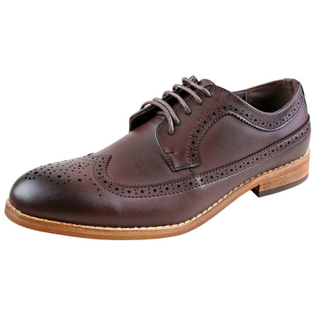 Urban Fox Everette Men's Dress Shoe | Brogue | Round Toe | Oxford Shoes | Dress Shoes Men | Dark Brown 13 M US