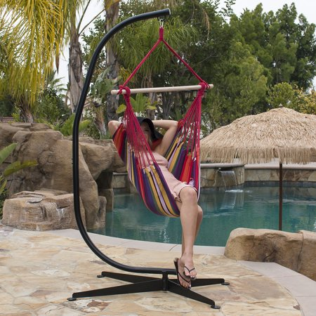 Super Belleze Hammock Chair With C Frame Stand Combo Hanging Rope Short Links Chair Design For Home Short Linksinfo