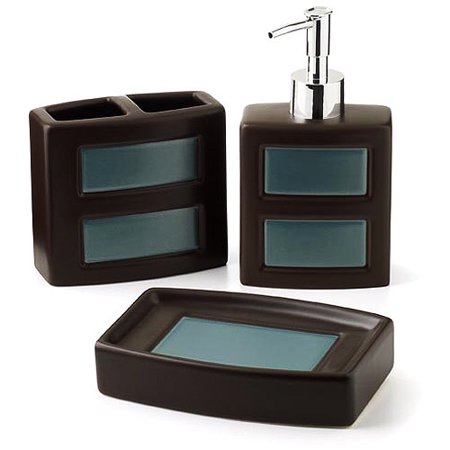 Hometrends gridlock 3 piece bath accessories set for Bathroom accessories at walmart