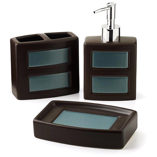 Elegant Hometrends Gridlock 3 Piece Bath Accessories Set   Walmart.com
