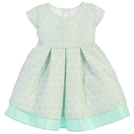 c964874f45dea Sweet Kids Baby Girls Mint Polka Dot Pleated Jacquard Satin Easter Dress