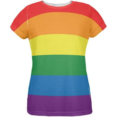 287b4c6b0 Old Glory - LGBT Rainbow Gay Pride Flag All Over Womens T-Shirt -  Walmart.com