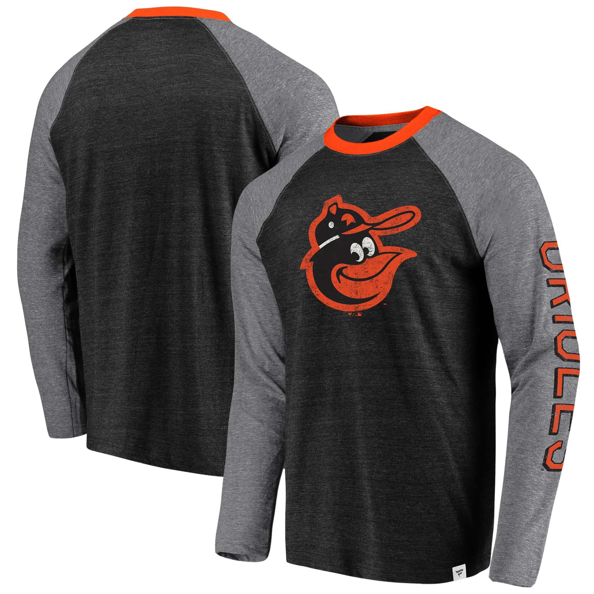 Baltimore Orioles Fanatics Branded True Classics Long Sleeve Raglan T-Shirt - Black/Gray