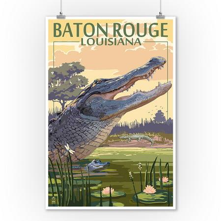 Baton Rouge, Louisiana - Alligator Scene - Lantern Press Artwork (9x12 Art Print, Wall Decor Travel Poster)