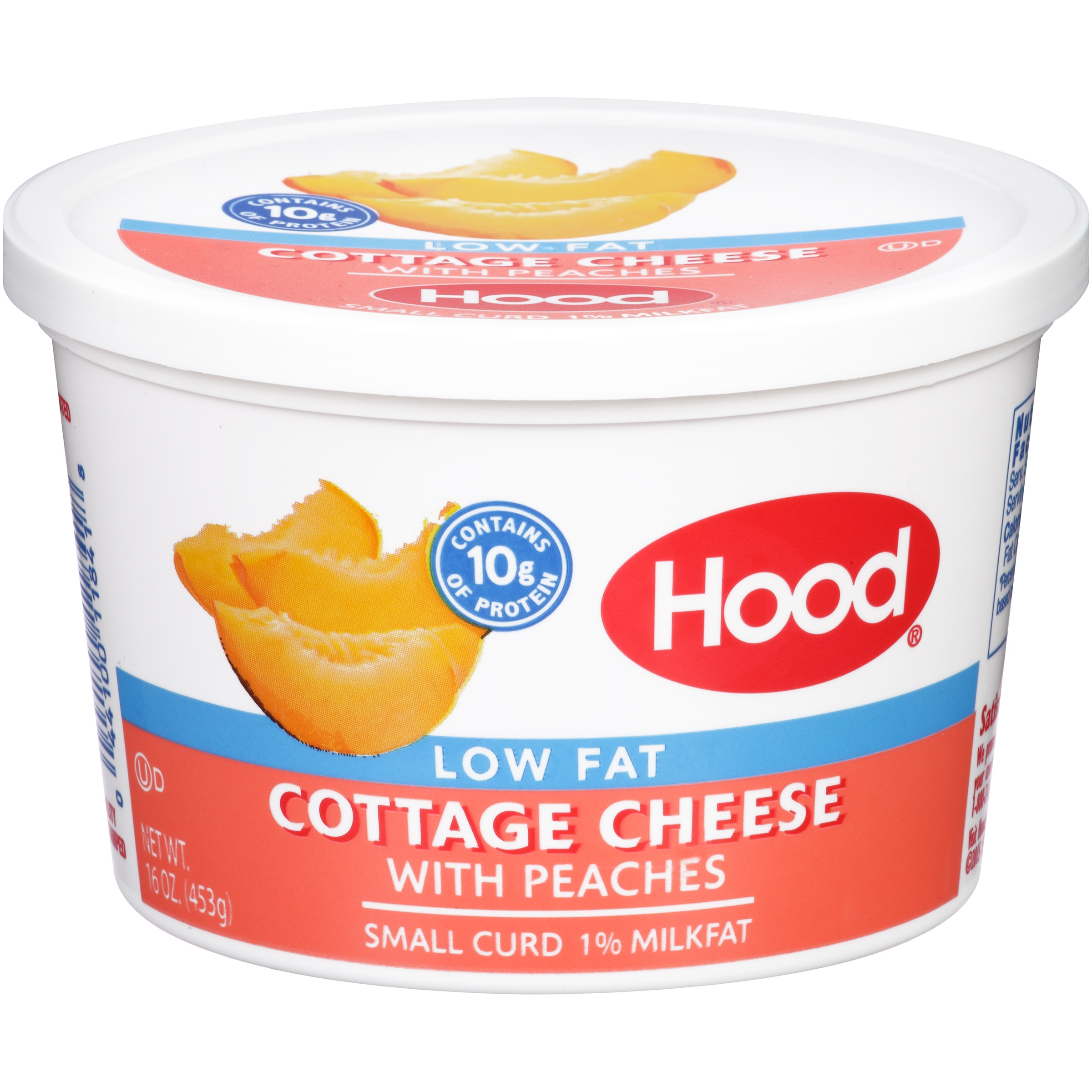 Hood Low Fat Cottage Cheese With Peaches, Small Curd 1% Milkfat, 16 Oz