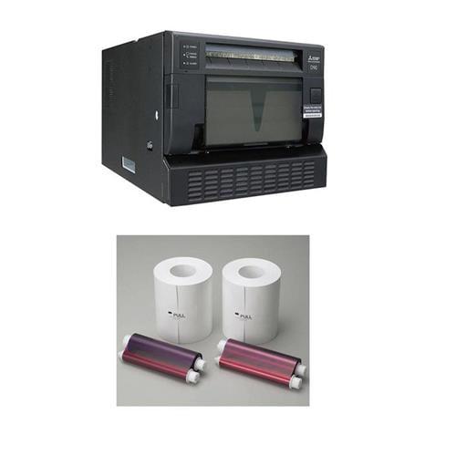 Mitsubishi CP-D90DW Hi-Tech Dye-Sub Photo Printer With Mitsubishi Electric Two 6in Wide Paper Roll InkSHeet by Mitsubishi