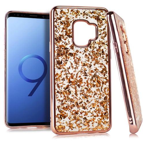MUNDAZE Rose Gold Chrome Edge Glitter Flakes Case For Samsung Galaxy S9 PLUS Phone