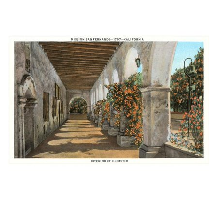 Arcade San Fernando Mission, California Print Wall Art ()