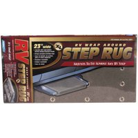 """Camco 42935 Wrap Around RV Step Rug XL for Larger Manual or Electric RV Steps, 23""""W - Protects Your RV From Unwanted Tracked In Dirt (Gray)"""
