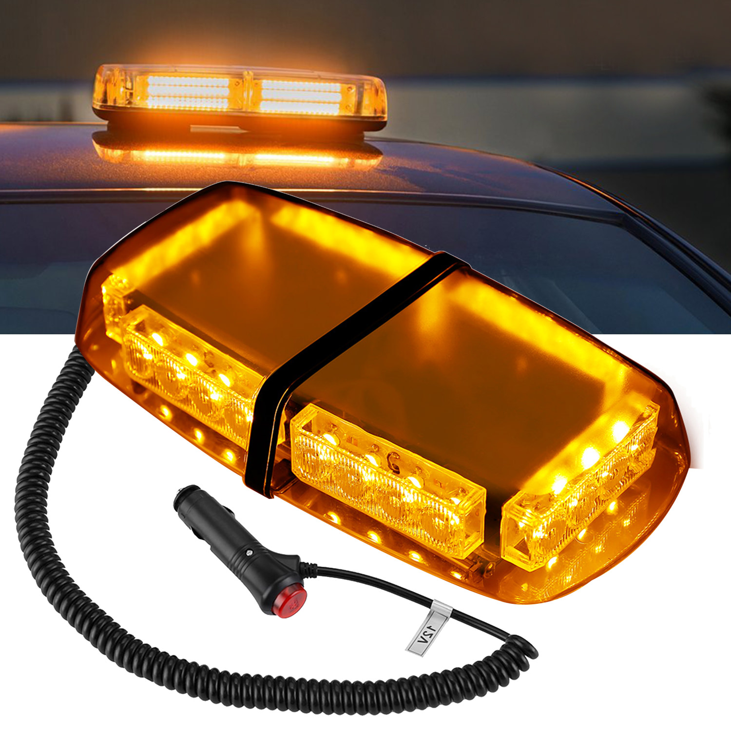 Finether 24 LED Vehicle Rooftop Hazard Police Emergency Warning Flashlight Enforcement Magnetic Base Cigarette Amber Strobe Lights for Car Truck