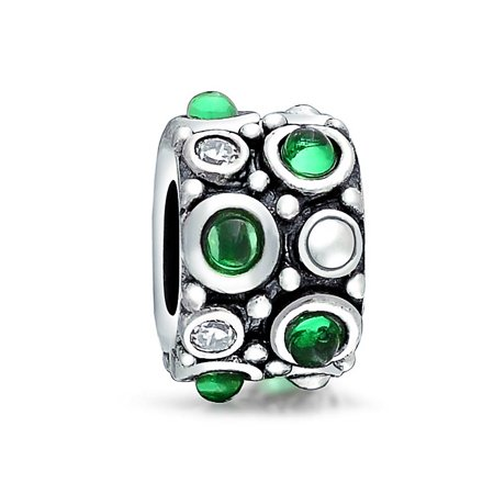 Circle Birthstone Charm - Circles Dots Cubic Zirconia Bead Simulated Emerald Green Amethyst CZ Charm Oxidized 925 Silver For European Bracelet
