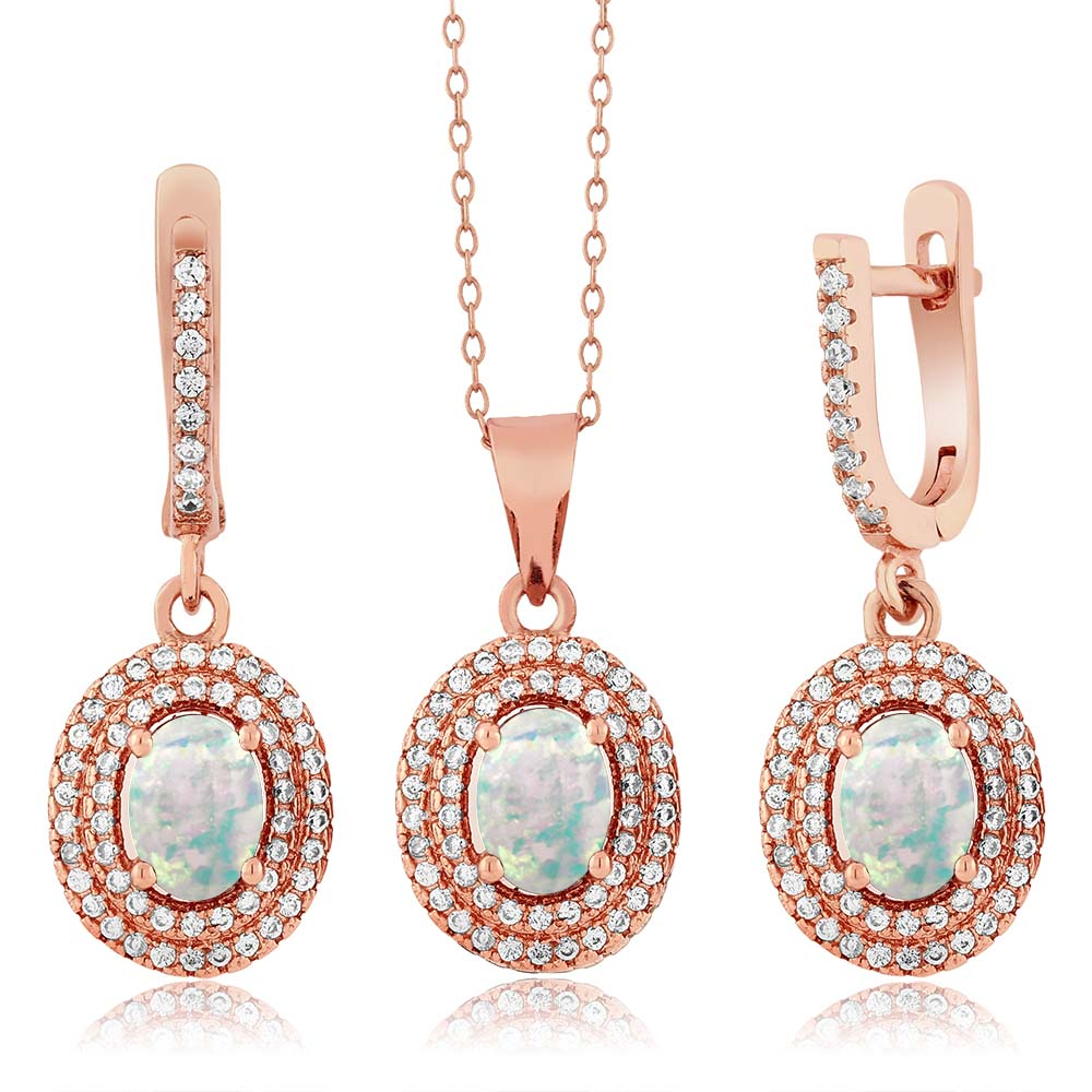 3.52 Ct Oval Simulated Opal 925 Rose Gold Plated Silver Pendant Earrings Set by