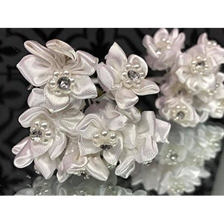12 Bunches of White Organza Rhinestone Flowers DIY Craft Favors Party