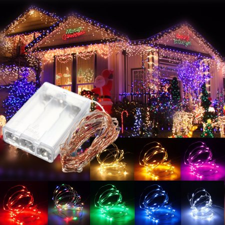 9.84ft 30 LED Copper Wire Fairy String Light For Party Wedding Xmas Christmas Decoration Battery Operated Powered Flexible Curtain Lamp - Copper Wedding