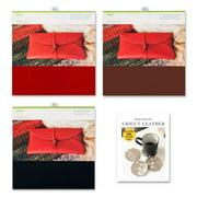 Cricut Machine Genuine Leather Sheet Bundle - Black, Cranberry, Brown