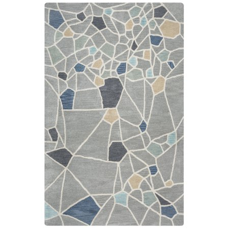 Gatney Rugs Athena Area Rugs - MF9502 Contemporary Grey Patchwork Lines Swirls Panels Rug