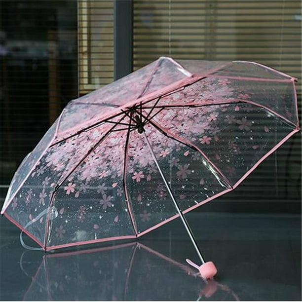 Transparent Clear Umbrella Cherry Blossom Mushroom Sakura Pink Umbrella