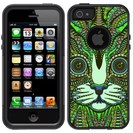 Skin Decal For Otterbox Commuter Apple Iphone Se Case   Aztec Cat Head Green