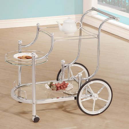 - Coaster Bar and Serving Cart, Silver