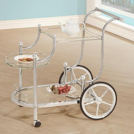 Coaster Bar and Serving Cart, Silver Aluminum Serving Cart