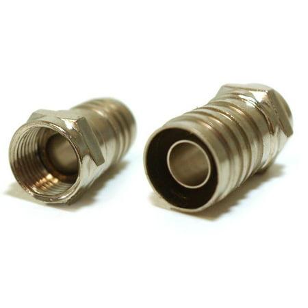 Coax RG6 Long Barrel F-Type Crimp Barrel Connector Plug by BattleBorn NEW (Single Crimp)