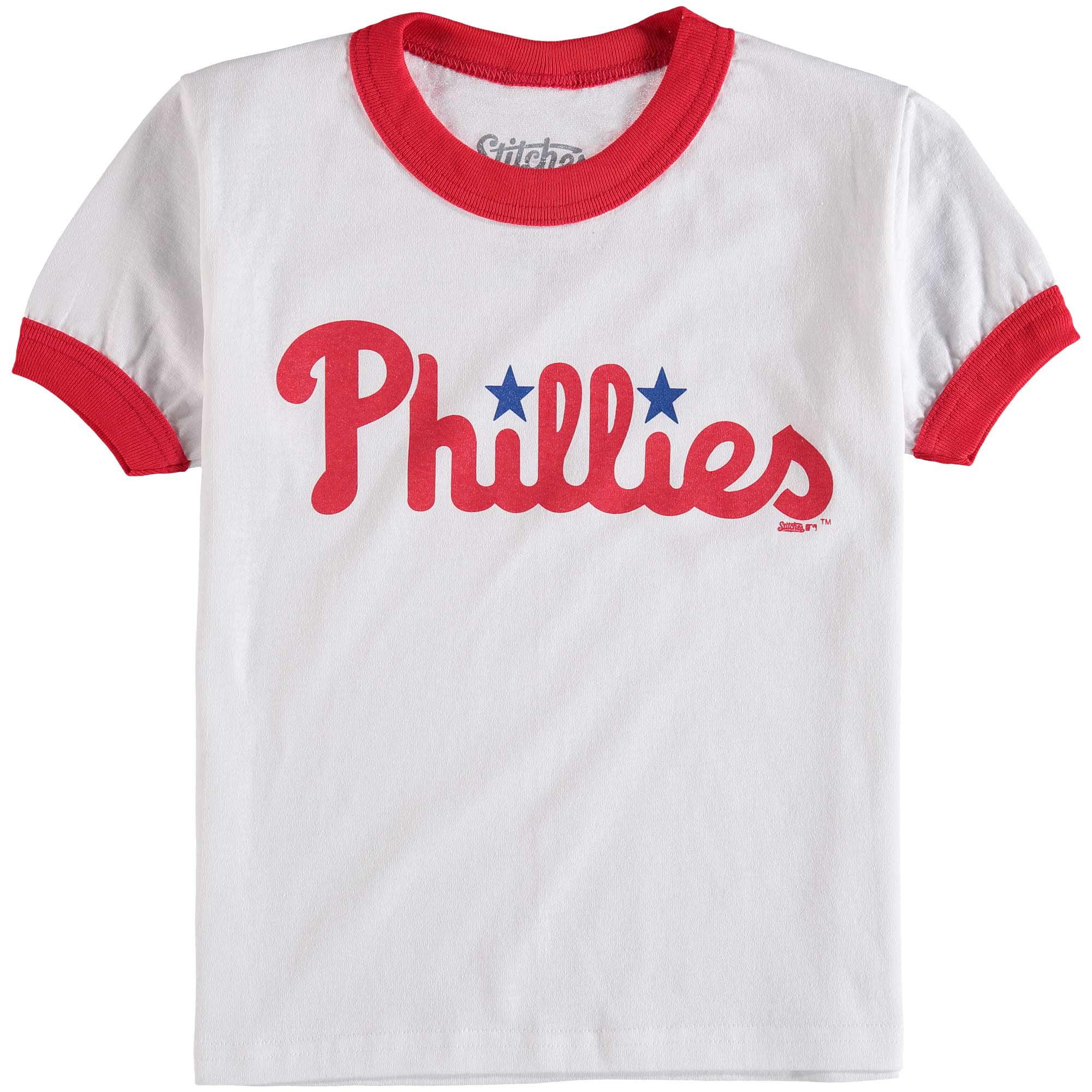 Philadelphia Phillies Stitches Youth Ringer T-Shirt - White/Red