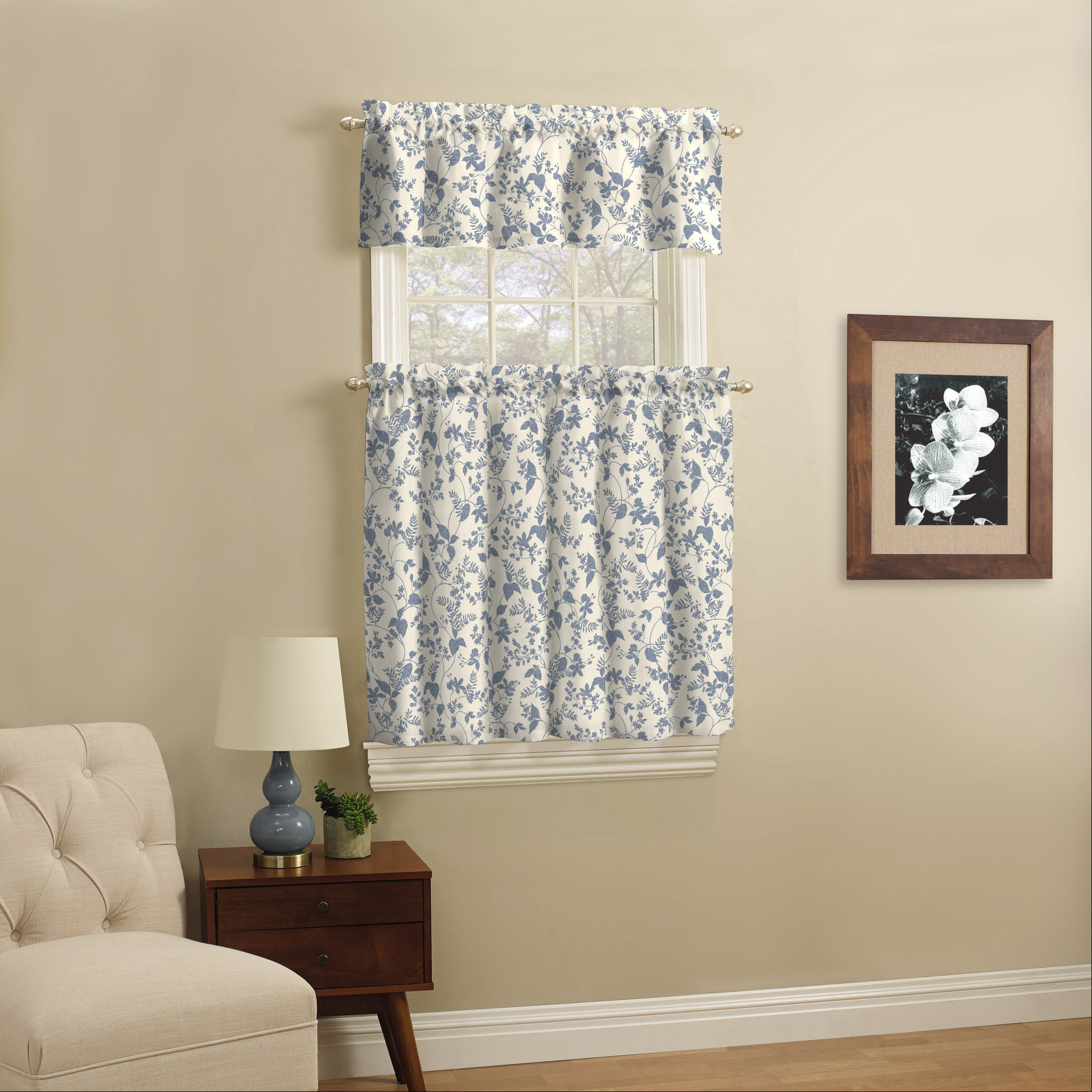 Mainstays Leaf Print Light Filtering Rod Pocket Kitchen Curtain Tier And Valance 3 Piece Set Blue 56 X 36 Walmart Com Walmart Com